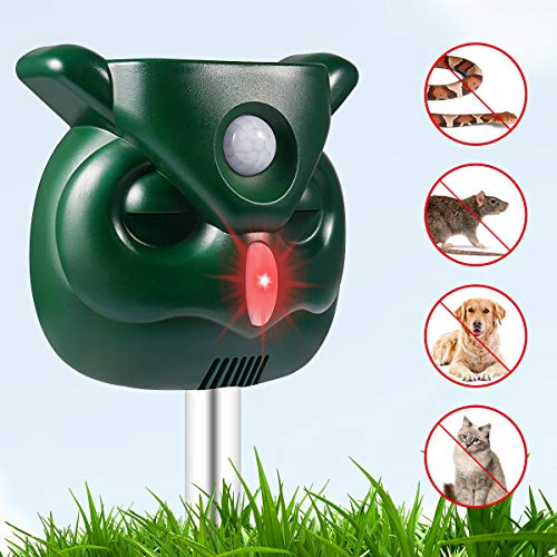 PETBROO Dog Cat Repellent, Ultrasonic Pest Repellent with Motion Sensor and Flashing Lights Outdoor Solar Powered Waterproof Farm Garden Yard Repellent, Cats, Dogs, Foxes, Birds, Repel-pesticides