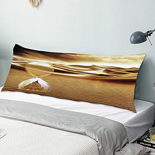 ZYLASTORE Körperkissenbezug,Wüstenlandschaft Surrealismus Fantasy Sanduhr Sand Castle Zeit,Langer Kissenbezug Kissenbezug mit Reißverschlüssen für zu Hause Schlafzimmer Sofa (20x54inch)