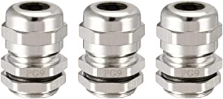 uxcell 3Pcs PG9 Cable Gland Metal Watertight Connector Wire Glands Joints for 4mm-8mm Dia Range