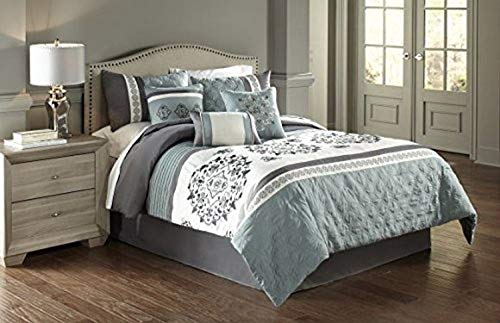 Riverbrook Home Comforter Set, King, Alex-Blue/Gray, 7 Piece