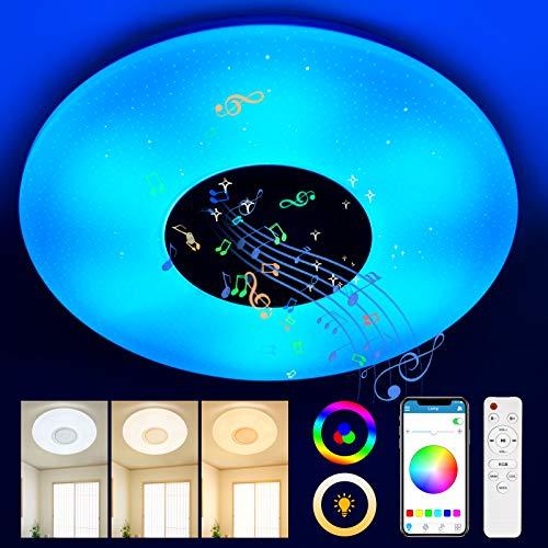 Lámpara LED de Techo Regulable con Altavoz Bluetooth, OneV TF 24W RGB LED de Techo para Música,1680LM Luces Lámpara Plafón de Techo LE,APP+Mando a Distanci para Baño,Fiesta de Navidad,Habitación (24W)