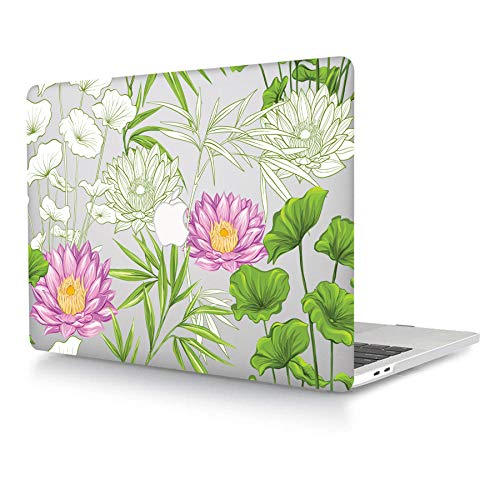 ACJYX Case Only Compatible with MacBook Pro 15 inch 2019 2018 2017 2016 Release A1990 A1707 with Touch Bar and Touch ID, Matte Print Pattern Coated Plastic Hard Shell Cover, Transparent & Flower