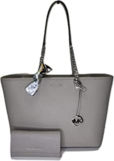 MICHAEL Michael Kors Shania Large EW Chain Tote bundled with matching Trifold Wallet and Skinny Scarf (Pearl Grey)