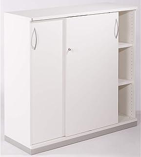 THEA Armoire à portes coulissantes - 2 tablettes, 3 hauteurs de classeurs - blanc cassé - armoire armoire de bureau armoir...