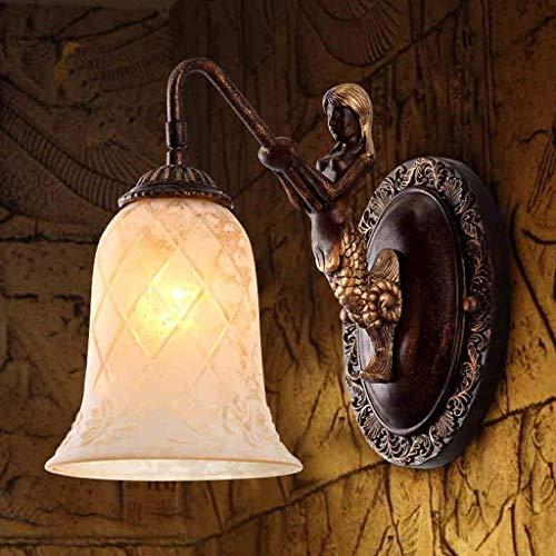 BXU-BG Luces de pared, euro americano retro minimalista de resina de una sola cabeza lámpara de pared, dormitorio de la lámpara de cabecera de la lámpara de la sala lámpara lámparas Estudio Villa Balc