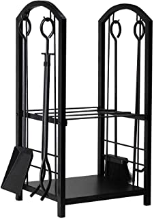 Best Amagabeli Firewood Rack Fireplace Tool Rack Indoor Wood Holders Fireplace Outdoor Log Holder Rack Lumber Storage Stacking Black Stove Wrought Iron Large Logs Bin Fireplace Tools Set Tongs Accessories Reviews