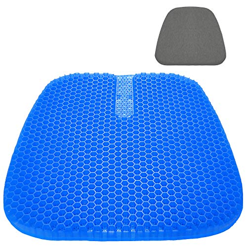 Gel Seat Cushion, Large Size Double Thick Breathable Honeycomb Design Cool Gel Cushion for Office Chair Car Wheelchair,Pressure Relief Back Tailbone Pain