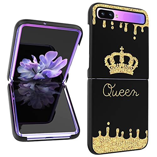 AIGOMARA Compatible with Samsung Galaxy Z Flip 5G Hard PC Case Queen Golden Crown Gold Glitter Pattern Anti-Scratch Shockproof Protection Thin Slim Fit Phone Cover for Galaxy Z Flip 5G, Black