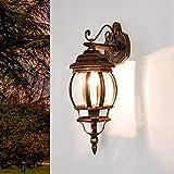 Lámpara nostálgica de pared para exterior'Brest' en rojo negro/De aluminio fundido a presión, IP43, E27 hasta 60 W/Lámpara de pared versátil para la iluminación exterior de patios y jardines