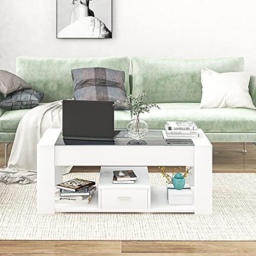 Mesa de centro para salón con tablero de cristal, cajones y espacio de almacenamiento, mesa auxiliar moderna espaciosa para tu salón – 100 x 50 x 40 cm (negro)
