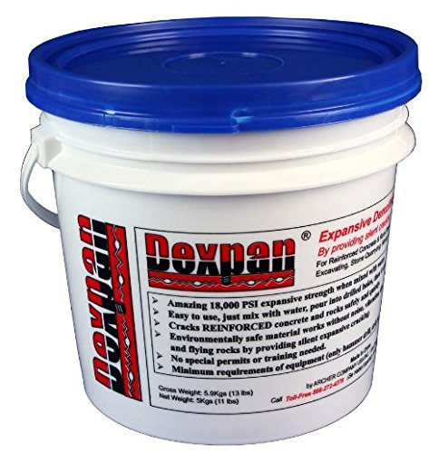 Dexpan Expansive Demolition Grout 11 Lb. Bucket for Rock Breaking, Concrete Cutting, Excavating. Alternative to Demolition Jack Hammer Breaker, Jackhammer, Concrete Saw, Rock Drill (#3 (23F-50F))