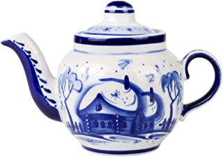 Winter Teapot Blue and White Porcelain. Gzhel 11.8 oz (350 ml)