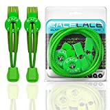 Neon Green Elastic Shoelaces - No Tie Shoe Laces That Lock | Use For Running Sports Triathlon | Great For Kids & Seniors | 9 Colours | Multipack | Race Lace