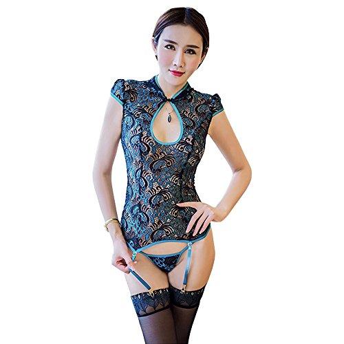 Spaßunterwäsche Stickerei Halfter Cheongsam Strümpfe gesetzt, Lu MEI Brust sexy Dessous, provokative Pfau Versuchung