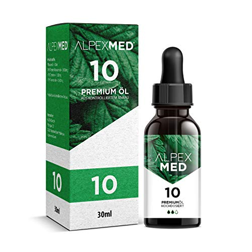 ALPEX-MED® Öl mit 10 Prozent Premium Terpen-Konzentrat | 30ml Essential Tropfen mit Zertifikat enthält ungesättigte Omega Fettsäuren - 100{9c3ad84907960548dd5818599ed7b46610c00b54ec47ec98f0554fe1f106ede8} Vegan