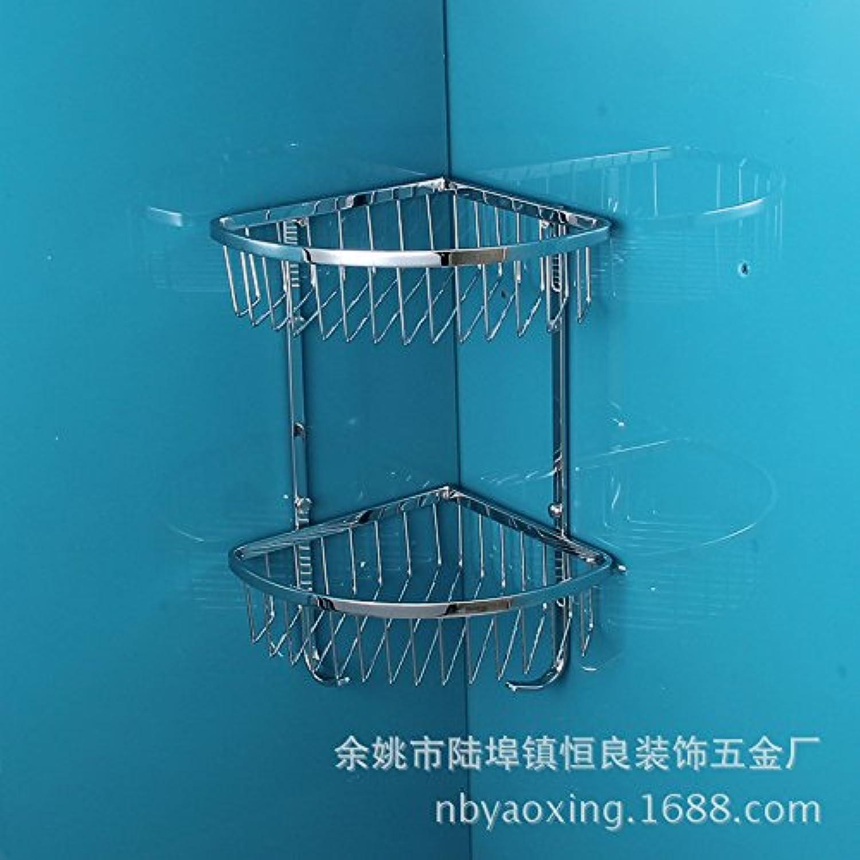 Bathroom corner basket with hook stainless steel double layer glass shelf corner pie basket bathroom rack