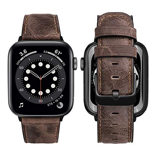 MroTech Lederarmband kompatibel mit Apple Watch Armband Leder Uhrenarmband Ersatz für iWatch SE/Serie 6/Series 5/4/3/2/1 44mm 42mm Echtleder Band mit Schwarz Schnalle 42/44 mm-Unique Style Kaffee
