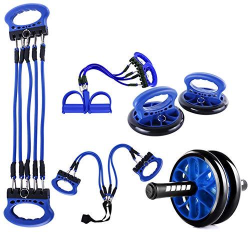 LUOZI 5-In-1 Ab Wheel Roller Kit, Kern Muskel Traning Frühling Exerciser Bauch Presse Rad Pro Tragbare Geräte Für Heim Übung Arbeit,Blau