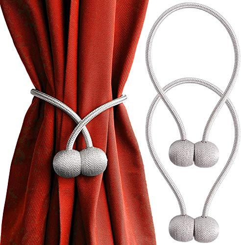 Magnetische Vorhang Raffhalter - Keine Bohrungen Erforderlich Vorhänge Halterschnallen,Exquisiter Klein und Praktisch,Geeignet für Home Office Kitchen Hotel Innenvorhang Dekorativ(2 PCs) (Grau)