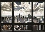 Póster New York Skyline 'Panorama a través de una ventana' (140cm x 100cm) + 1 póster sorpresa de regalo