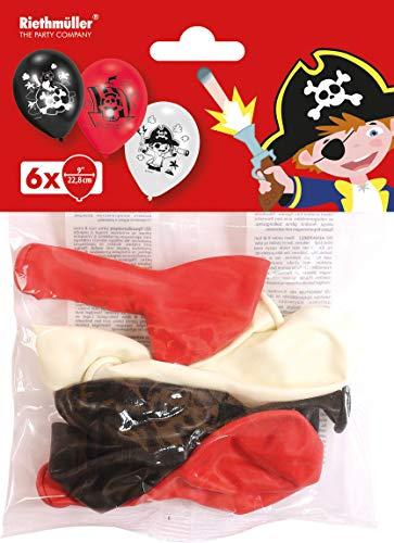 amscan 9902131 6 Latexballons Pirat, Schwarz/Rot/Weiß