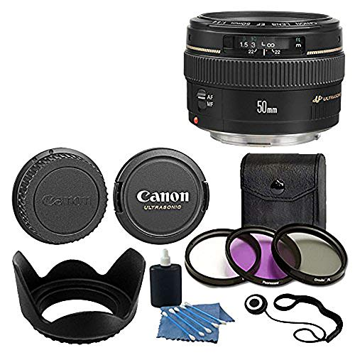 Canon EF 50mm f/1.4 USM Standard & Medium Telephoto Lens for Canon SLR Camera With 3 Piece Filter Kit (UV-CPL-FLD)...