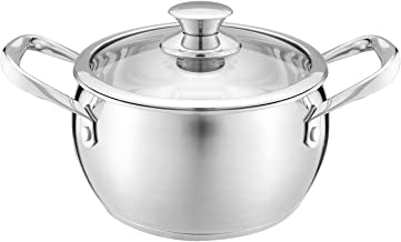 Aramco Hamilton Beach 4-Quart Dutch Oven, Casseole, Cooking Pot with Glass Lid, Silver