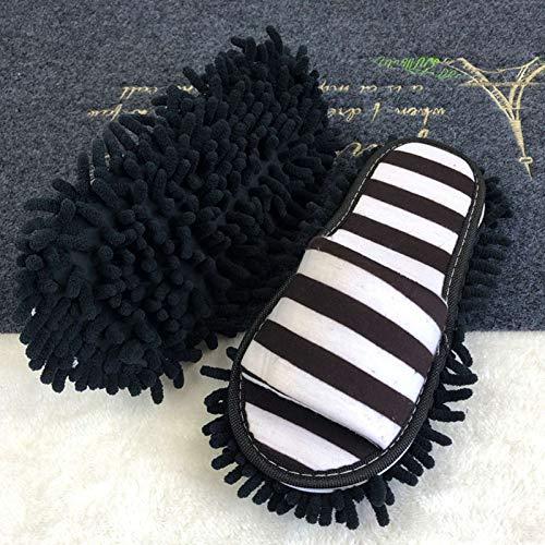 Phoetya Lazy Mop Hausschuhe Mikrofaser langlebig Reinigung Fußreiniger Pantoffeln Bodenwischen Staub Multifunktions-Schuhe offene Zehen (L, schwarz und weiß gemustert)
