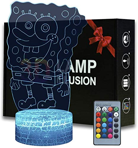 3D Night Light for Kids Spongebob 16 Color Change with Remote Control, Bedroom Decor Personalized Creative Christmas Birthday Gift for Kid Child Toddler