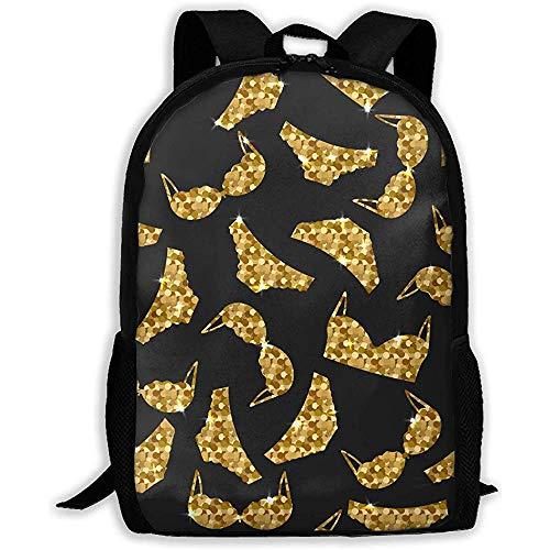 Goldene BH und Höschen Unisex Erwachsene einzigartige Rucksack, Schule Casual Sports Book Bags, Travel Daypacks