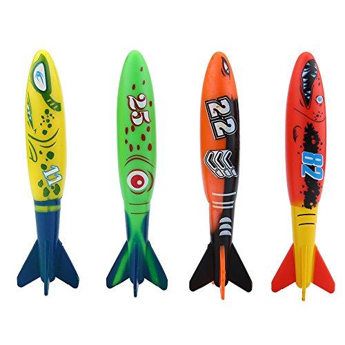 VGEBY 4 stuks Torpedo speelgoed, zwembad Toypedo bandieten onderwater duiken plezier speelgoed