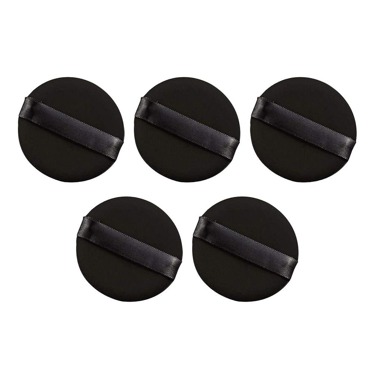 ミリメートル実業家勇敢なFrcolor パウダーパフ エアクッション 化粧ツール ラテックスではない 弾力性 化粧品 旅行用 5個セット(ブラック)