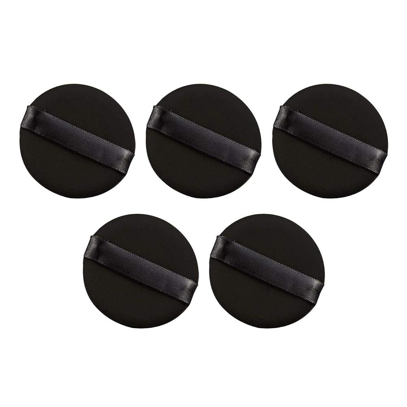 敬な冷ややかな姿勢Frcolor パウダーパフ エアクッション 化粧ツール ラテックスではない 弾力性 化粧品 旅行用 5個セット(ブラック)