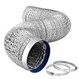 iPower 6 Inch 8 Feet Aluminum Hose for HVAC Ventilation, Ducting with Vent Ring