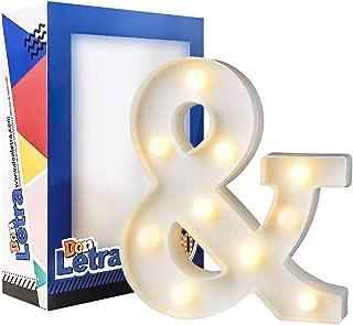 DON LETRA Símbolo & Luminoso Decorativo para Boda, Combinación de Letras Luminosas Decorativas, Decoración del Hogar, Regalos para Ella, Altura de 22cm, Color Blanco - Símbolo &