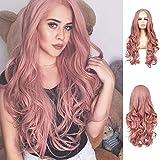 Lace Front Wig Rosa De 27' Mujer Pelucas Onduladas Largas Partida Media Sintética Peluca