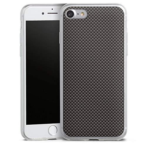 DeinDesign Custodia sottilissima Compatibile con Apple iPhone 7 Custodia per Cellulare di Silicone Trasparente Cover Semplice Carbone Tessuto Metallic Look