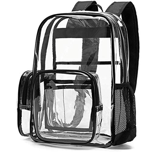 Clear Backpack, Cambond Heavy Duty Transparent Backpacks with Reinforced Straps (Black)