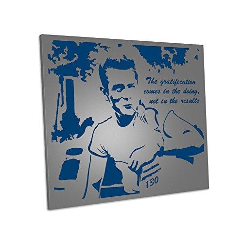Cadre en métal Design Moderne Ameublement Mural Home Decor James Laser Art 600 x 500 mm Fer, Couleur Gris, Panneau Fond Bleu