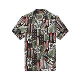 Hecho en Hawai de los Hombres Camisa Hawaiana Camisa de la Hawaiana L Edredón Patch Leaf...