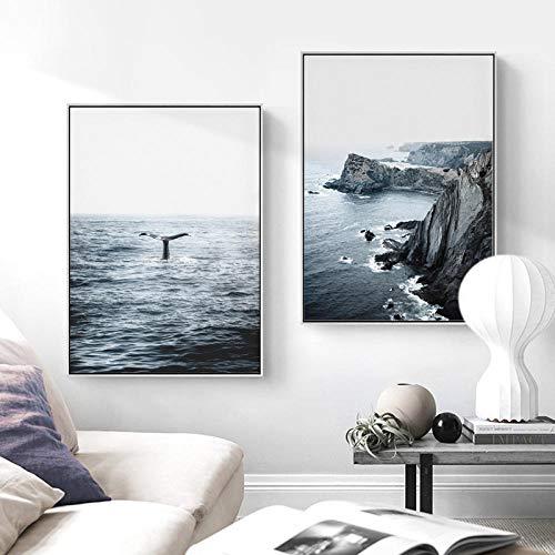 Ocean Landschap Canvas Poster Scandinavische stijl strandwal muurkunst druk schilderij decoratie afbeelding Scandinavische wooncultuur 40x60cmx2 geen lijst