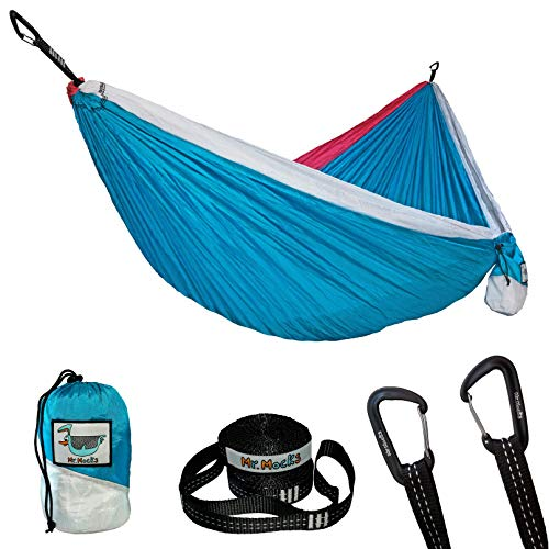 Mr. Mocks Double Hammock, with Light Weight Tree Straps, Aluminum Carabiners and Easy Stuff Sack, Great Travel and Camping Hammock (Vintage Tracksuit)