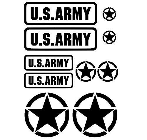 Generisch Set di adesivi militari US Army USA Star, XL o m (91 20) (nero opaco, m)
