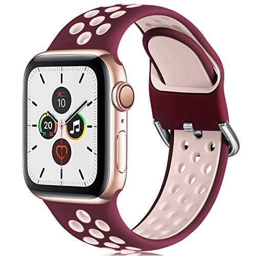 CeMiKa Ersatzarmband Kompatibel mit Apple Watch Armband 38mm 40mm 42mm 44mm, Weichem Silikon Sportarmband Kompatibel mit Apple Watch SE/iWatch Series 6 5 4 3 2 1, 38mm/40mm-M/L, Wein Rot/Rosa