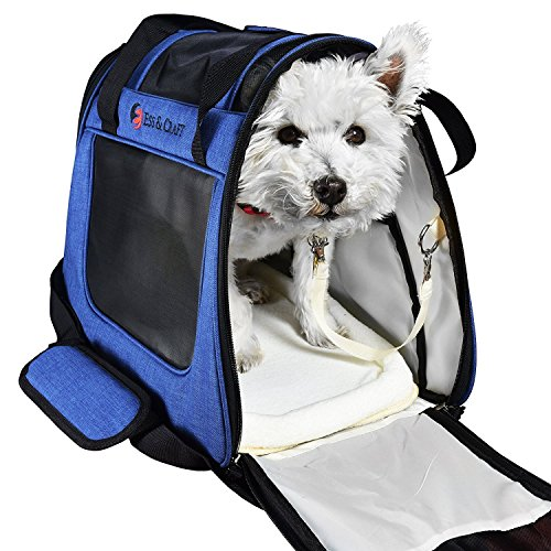E Ess & Craft Soft Cat Carrier, Front Loading Airline Approved Pet Carrier with Sturdy Bottom & Soft Fleece Bedding, Ventilated Travel Carrier with Padded Top Handle, Shoulder Strap and Zipper Locks