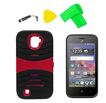 U-Stand Hybrid Cover Case Phone + Screen Protector + Extreme Band + Stylus Pen + Pry Tool for ZTE Jasper LTE Z718TL  U-Stand Black Red