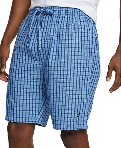 Nautica Men's Soft Woven 100% Cotton Elastic Waistband Sleep Pajama Short, French Blue, Large