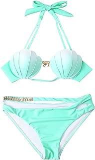 Womens Mermaid Halter Padded Push-up Swimsuit Gradient Color Seashell Bikini Set Beachwear