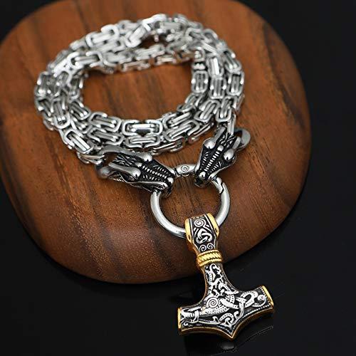 YCYR Viking Thor\'s Hammer Collar, Vintage Nórdico Mitología Mjolnir Amuleto Colgante, Hombres Hechos a Mano Rey Cadena Dragón Cadena Joyería,Between Gold,55CM