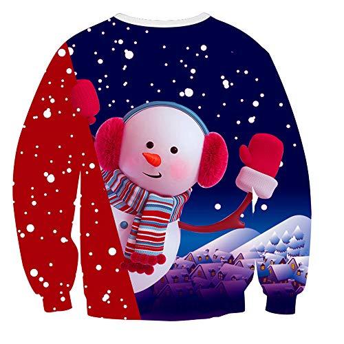 ZFQQ Unisex Weihnachten Pullover Sweatshirt Weihnachten Schneemann Print Langarm Baseball Wear Casual Paar Pullover